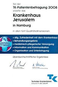 """Qualitätszertifikat """"Patientenzufriedenheit 2009"""" Krankenhaus Jerusalem Hamburg"""