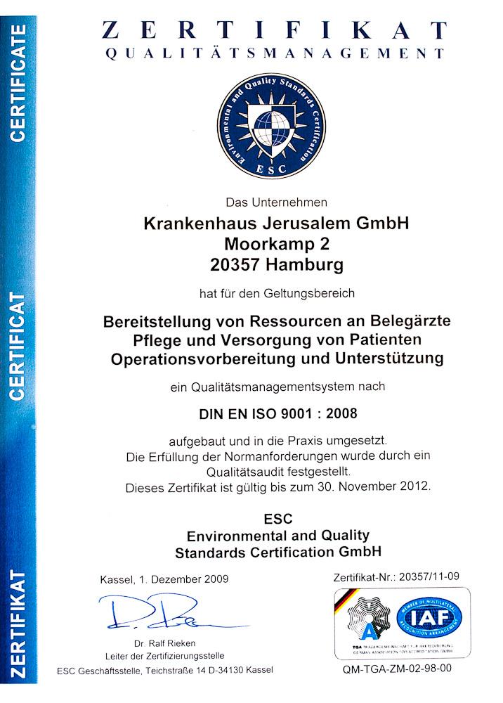 Zertifikat Qualitätsmanagement DIN EN ISO 9001:2008